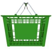Cesto de compras verde isolado no branco Fotos de Stock Royalty Free