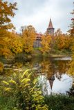 Cesvaine castle in Autumn, Latvia stock images