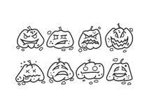 Cet значков тыквы хеллоуина стоковые фотографии rf