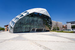 CET Budapest modern whale shaped building on the bank of Danube Stock Photos