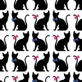 Seamless pattern with black cat silhouette. Vector background royalty free illustration