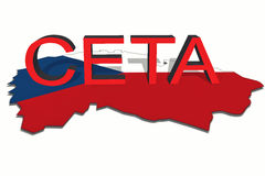 CETA - comprehensive economic and trade agreement on Czech Republic map Stock Photos