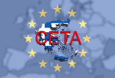 CETA - comprehensive economic and trade agreement on Euro background, Greece map Stock Image