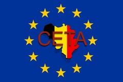 CETA - comprehensive economic and trade agreement on Euro Union background, Belgium map Stock Image