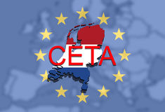 CETA - comprehensive economic and trade agreement on Euro Union background, Holland map Royalty Free Stock Photos