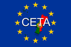 CETA - comprehensive economic and trade agreement on Euro Union background, Portugal map Royalty Free Stock Photo