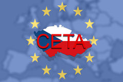 CETA - comprehensive economic and trade agreement on   Euro Union and Czech Republic map Stock Photo