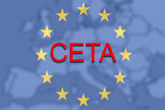 CETA - comprehensive economic and trade agreement on Euro Union and Europe map Stock Photos