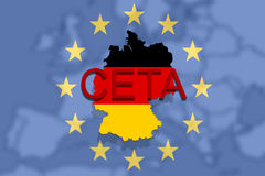 CETA - comprehensive economic and trade agreement on  Euro Union and Germany  map Royalty Free Stock Images