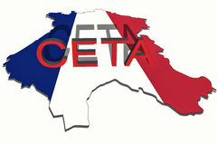 CETA - comprehensive economic and trade agreement on   France map Stock Photos