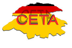CETA - comprehensive economic and trade agreement on  Germany  map Stock Images
