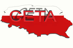 CETA - comprehensive economic and trade agreement on Poland map royalty free stock photos