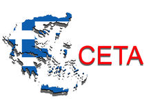 CETA - comprehensive economic and trade agreement on white background, Greece map Royalty Free Stock Photo