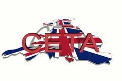 CETA - omfattande ekonomisk och handelöverenskommelse på den Förenade kungariket översikten stock illustrationer