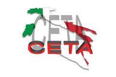 CETA - omfattande ekonomisk och handelöverenskommelse på den Italien översikten vektor illustrationer