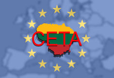 CETA - omfattande ekonomisk och handelöverenskommelse på eurobackgr stock illustrationer