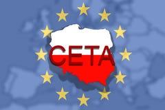 CETA - omfattande ekonomisk och handelöverenskommelse på eurounion- och Polen översikt stock illustrationer