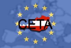 CETA - omfattande ekonomisk och handelöverenskommelse på facklig bakgrund för euro, Österrike översikt royaltyfri illustrationer