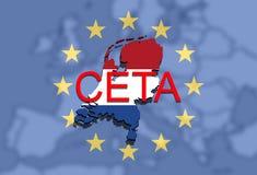 CETA - omfattande ekonomisk och handelöverenskommelse på facklig bakgrund för euro, Holland översikt royaltyfri illustrationer