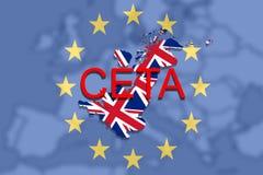 CETA - omfattande ekonomisk och handelöverenskommelse på facklig bakgrunds- och Förenade kungariket för euro översikt royaltyfri illustrationer