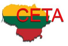 CETA - omfattande ekonomisk och handelöverenskommelse på vit backg stock illustrationer