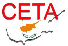 CETA - omfattande ekonomisk och handelöverenskommelse på vit backgound, Cypern översikt royaltyfri illustrationer