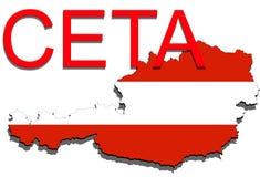 CETA - omfattande ekonomisk och handelöverenskommelse på vit bakgrund, Österrike översikt stock illustrationer