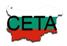 CETA - omfattande ekonomisk och handelöverenskommelse på vit bakgrund, Bulgarienöversikt vektor illustrationer