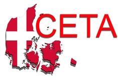 CETA - omfattande ekonomisk och handelöverenskommelse på vit bakgrund, Danmark översikt vektor illustrationer
