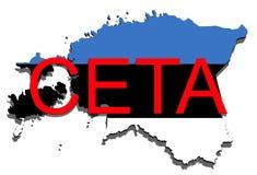 CETA - omfattande ekonomisk och handelöverenskommelse på vit bakgrund, Estland översikt vektor illustrationer