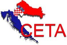CETA - omfattande ekonomisk och handelöverenskommelse på vit bakgrund, Kroatienöversikt stock illustrationer