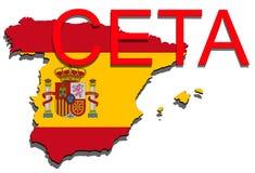 CETA - omfattande ekonomisk och handelöverenskommelse på vit bakgrund, Spanien översikt stock illustrationer