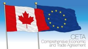 CETA, omfattande flaggor för ekonomisk och handelöverenskommelse, Kanada och Eu royaltyfri illustrationer