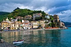 Cetara, Amalfi Coast, Salerno, Italy. Europe in a sunny day with some clouds in the sky Stock Images