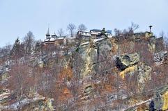 Cetateni church on mountain top Stock Photography