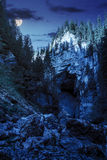 Cetatile cave sculpted by river in romanian mountains at night Stock Photography