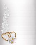 Cetim do branco do convite do casamento Imagens de Stock Royalty Free