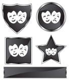 Cetim preto - máscaras ilustração stock