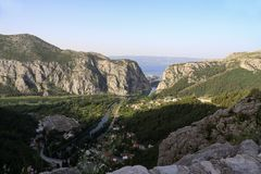 Cetina river canyon and mouth in Omis royalty free stock image