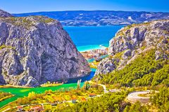 Cetina river canyon and mouth in Omis view from above Stock Photos