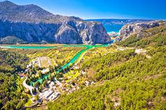 Cetina river canyon and mouth in Omis view from above Royalty Free Stock Photo