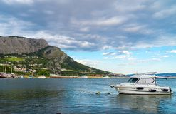 Cetina river. Cetina river with ships and boats in Omis, Croatia royalty free stock photos