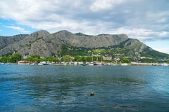 Cetina river. Cetina river with ships and boats in Omis, Croatia stock photos