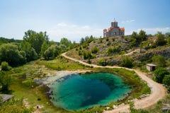 Cetina water source spring in Croatia. Cetina water source karst spring in Croatia stock image