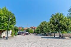 Cetinje Dvorski square promenade Stock Photography