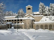 Cetinje with snow. Montenegro Cetinje snow Monestery winter Stock Image