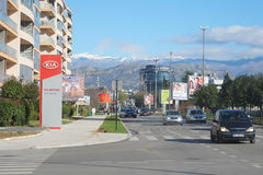 Cetinjski Put street. Podgorica, Montenegro, November, 2015: View of Cetinjski Put street in Podgorica, Montenegro Royalty Free Stock Image