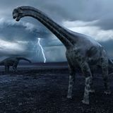 Cetiosaurus Dinosaurs with Approaching Storm Royalty Free Stock Images
