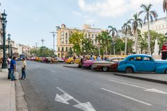 HAVANA, CUBA - OCTOBER 20, 2017: Cetral Park in Havana, Cuba. Old Vehicle in Background. Cetral Park in Havana, Cuba. Old Vehicle in Background Stock Images
