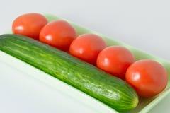 Cetrioli e pomodori Fotografia Stock